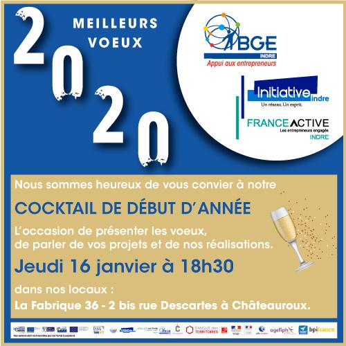 Nous sommes heureux de vous convier à notre cocktail de début d'année le jeudi 16       janvier à 18h30 dans nos locaux : La Fabrique 36, 2 bis rue Descartes à Châteauroux. L'occasion de présenter les voeux, de parler de vos projets et nos réalisations.
