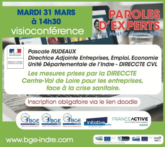 Visioconférence de paroles d'experts concernant les mesures prises par la DIRECCTE Centre-Val de Loire pour les entreprises, face à la crise sanitaire