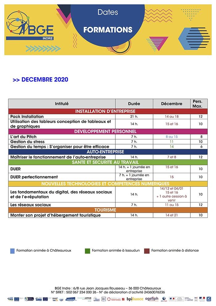 Formations décembre BGE Indre